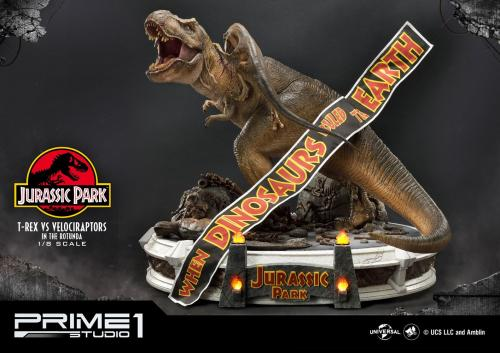 Jurassic Park Statue 1/8 T-Rex vs Velociraptors in the Rotunda 65 cm