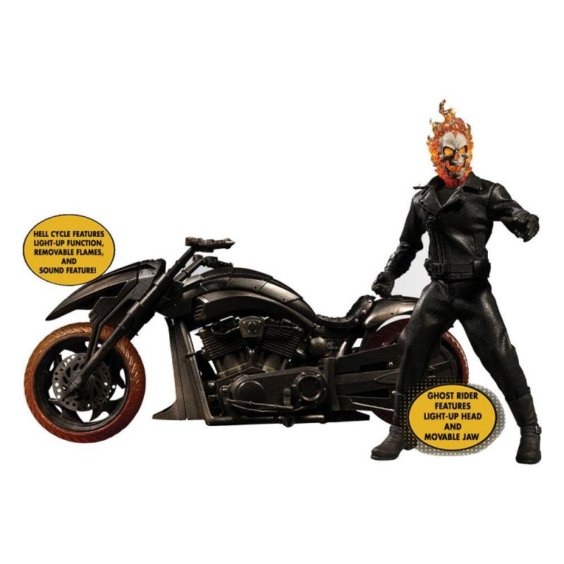 Ghost Rider:Ghost Rider & Hell Cycle - Figure & Vehicle with Sound & Light Up 1/12 - Mezco