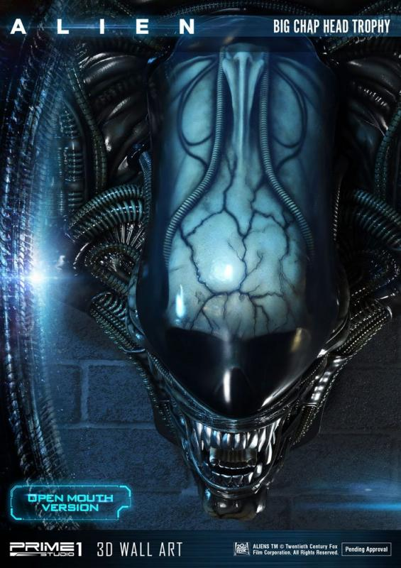 Alien 3D Wall Art Warrior Alien Head Trophy Open Mouth Version 58 cm