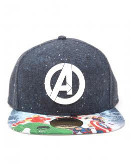 Avengers Snap Back Baseball Cap Logo with Comic Print