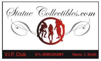 Statue Collectibles V.I.P. Club loyalty card